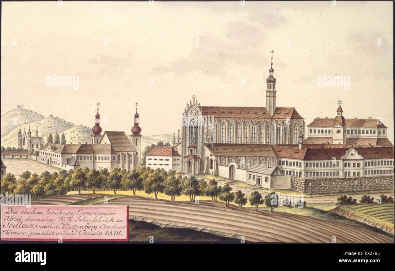 Die ehedem berühmte Cistercienser-Abtei, dermalige k.k. Tabacfabrick zu Sedlecz naechst Kuttenberg, Czaslauer - Stock Image