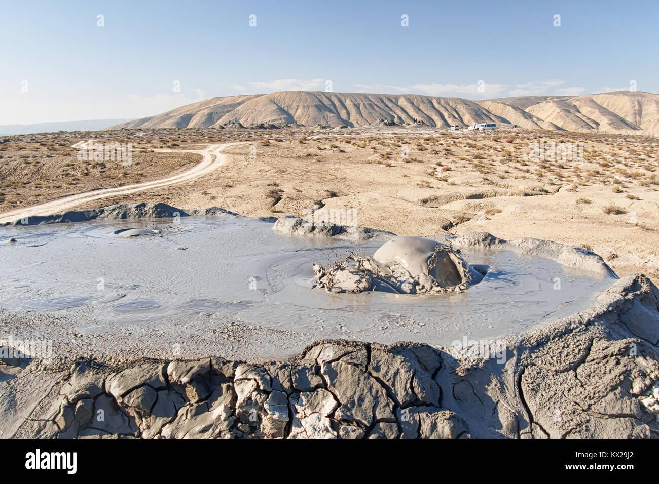 Active mud volcano in Gobustan, Azerbaijan - Stock Image