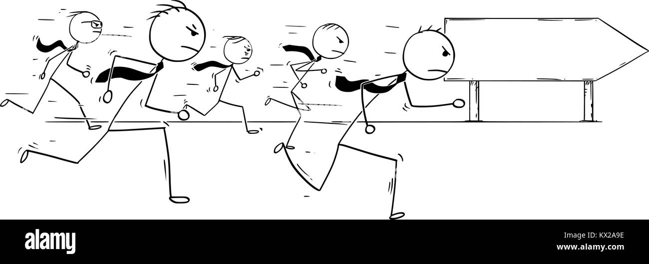 Cartoon Stick Man Drawing Conceptual Illustration Of Five Businessmen Or Business People Running Competition Race And Empty Blank Sign