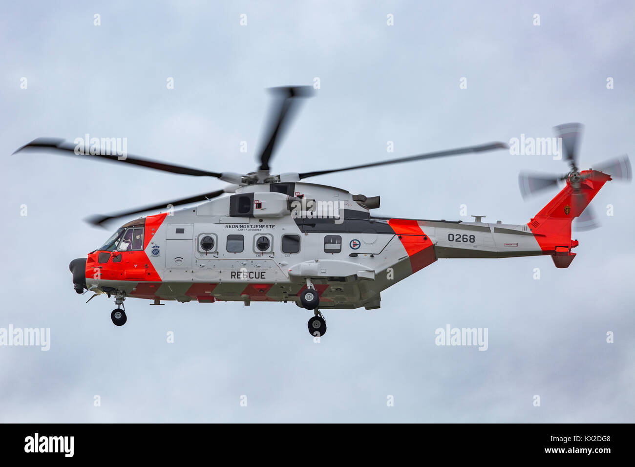 Norwegian Coast Guard Augusta Westland AW101 helicopter on delivery flight landing at Newcastle International Airport - Stock Image