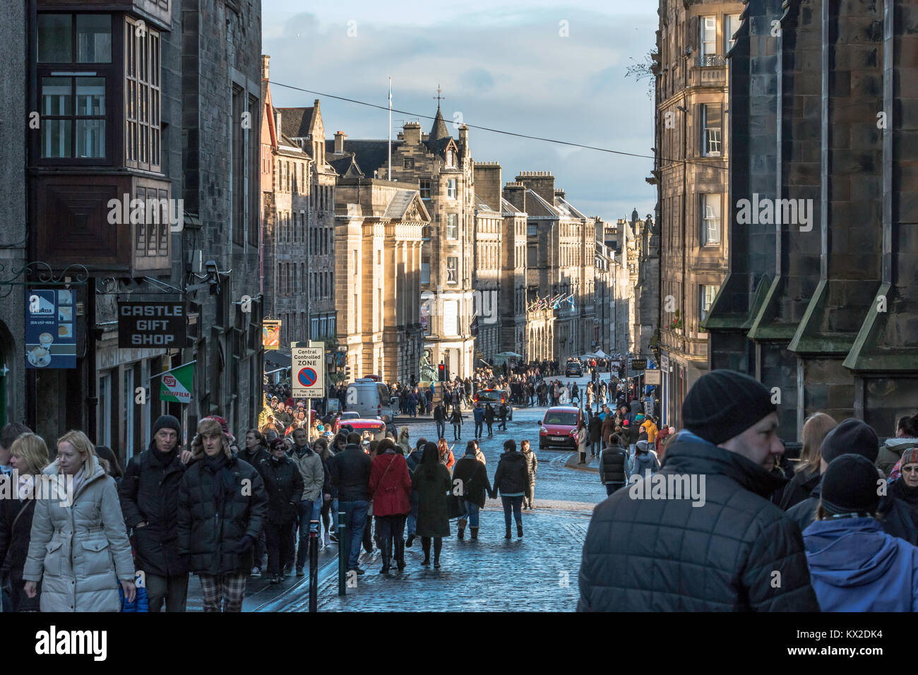 Looking down the Royal Mile, Edinburgh on a cold winters day Stock Photo