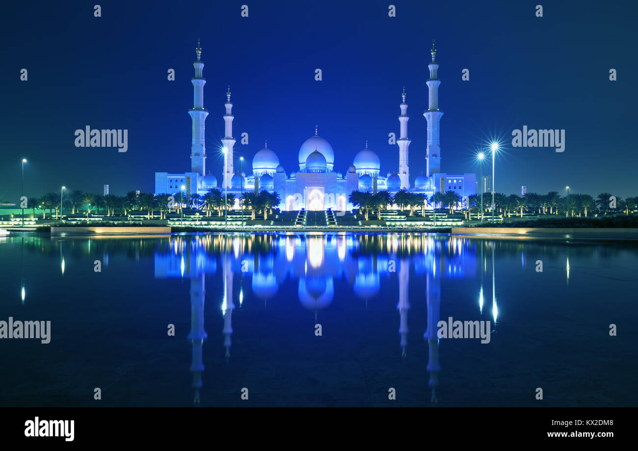 Sheikh Zayed Grand Mosque in Abu Dhabi. It is the largest mosque in UAE and the eighth largest mosque in the world. - Stock Image