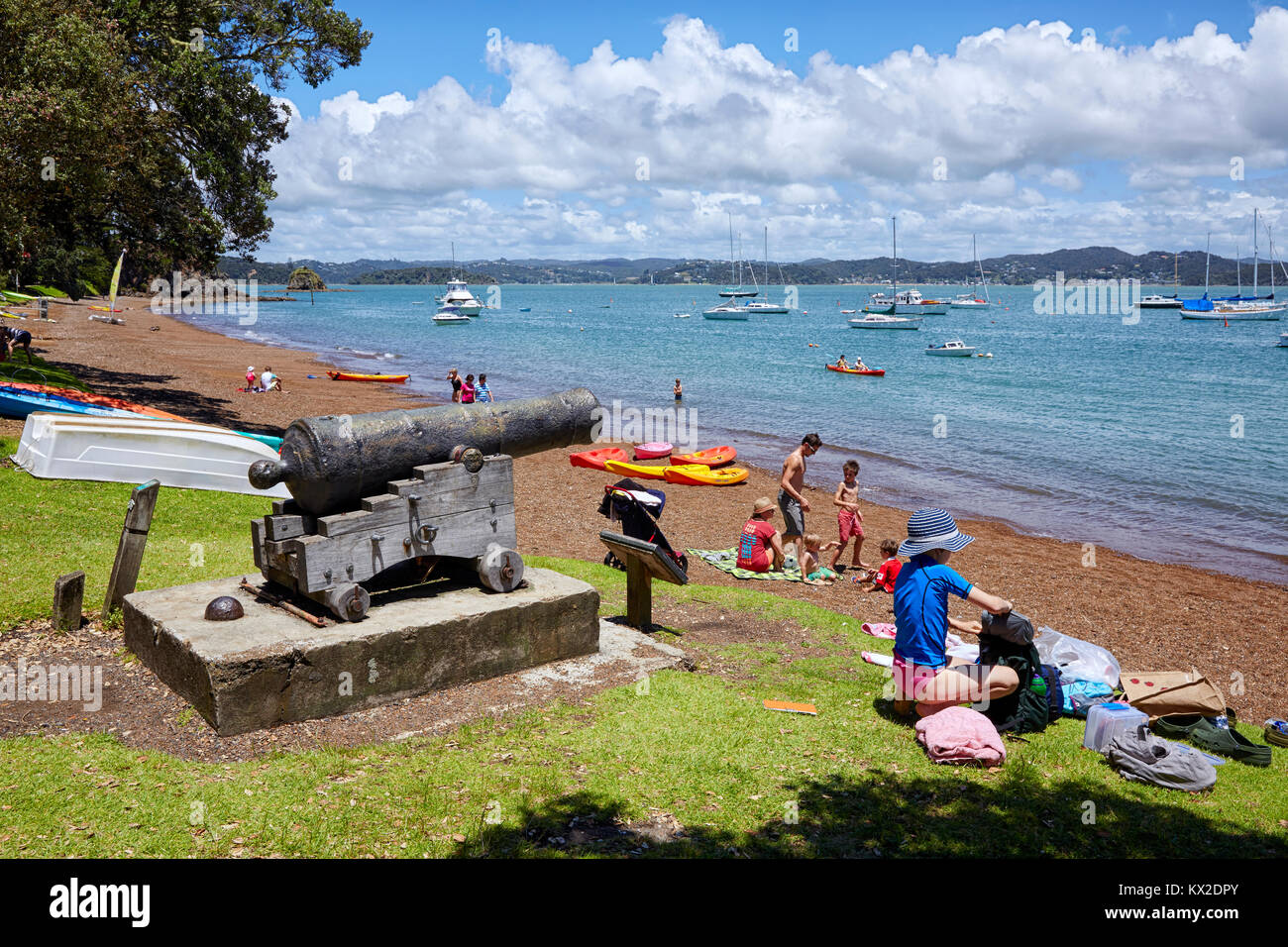 The Strand Beach, Karorareka Bay, the Strand, Russell, North Island, New Zealand - Stock Image