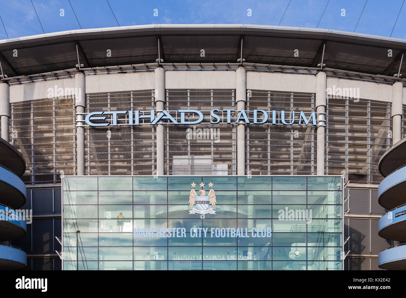 The frontage of the Etihad Stadium, home of Manchester City Football Club, in Manchester, England. - Stock Image