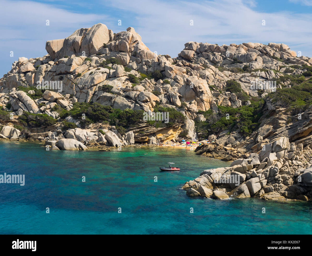 hidden beach at Capo Testa, Sardinia - Stock Image