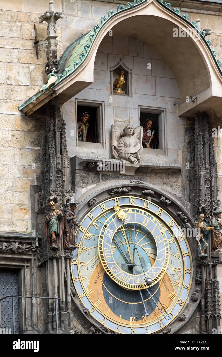 Astronomical Clock in Prague's Old Town Square - Stock Image