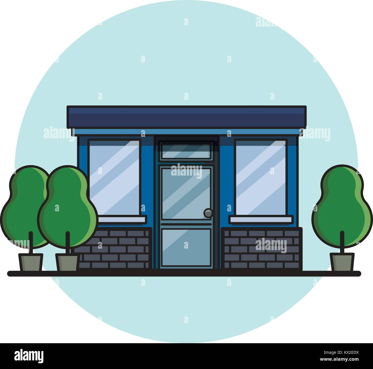 Cafe building. Flat style, vector illustration. - Stock Vector