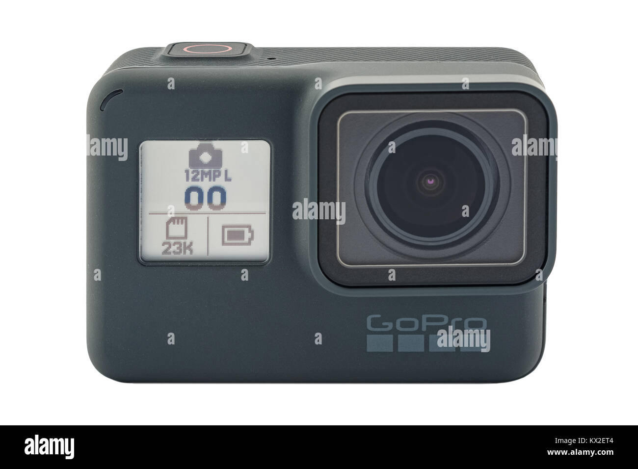 RIGA, LATVIA - NOVEMBER 25, 2017: GoPro HERO 6 Black. Supports 4k Ultra HD video up to 60 fps and 1080p up to 240 - Stock Image