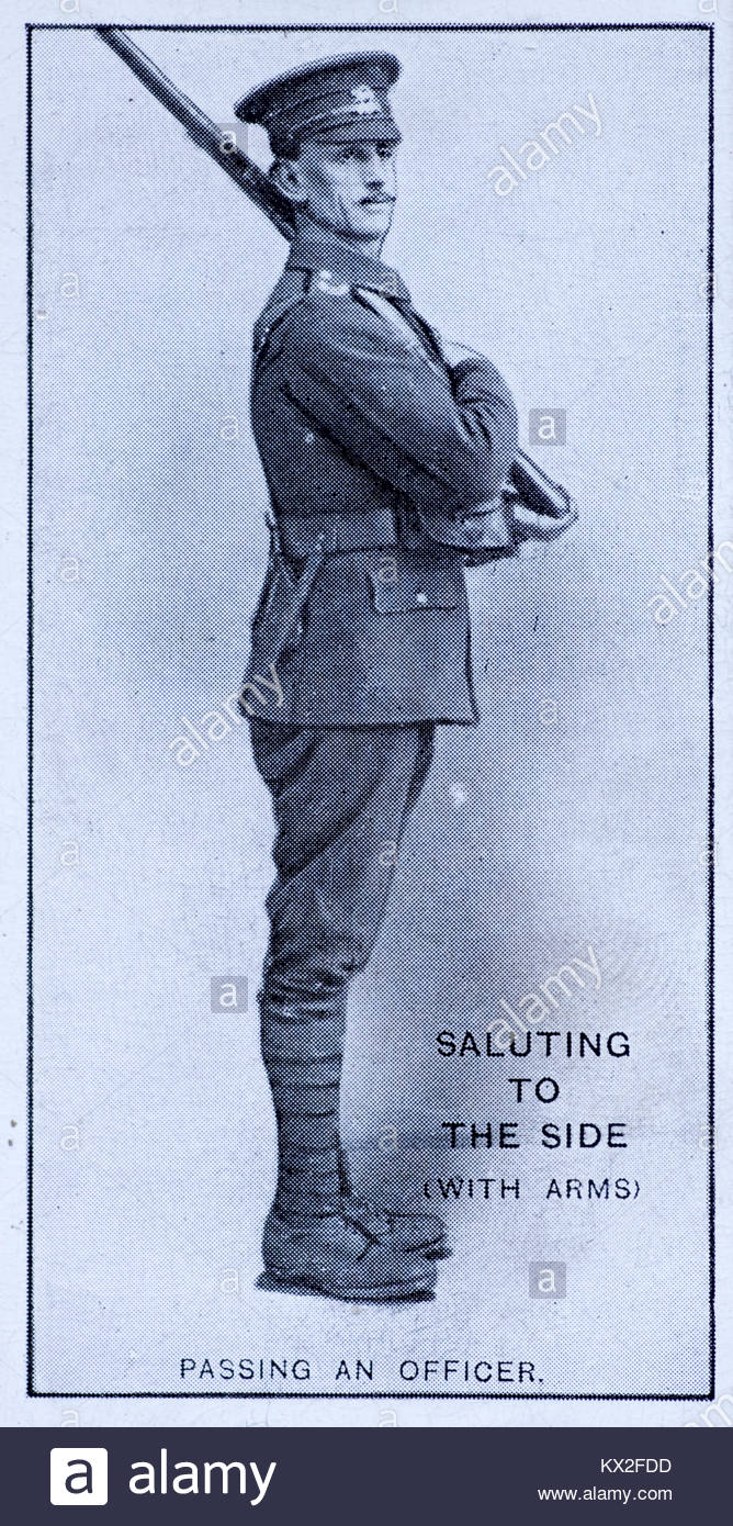 Field Signals - Saluting to the side(with arms) - Passing an officer - Stock Image