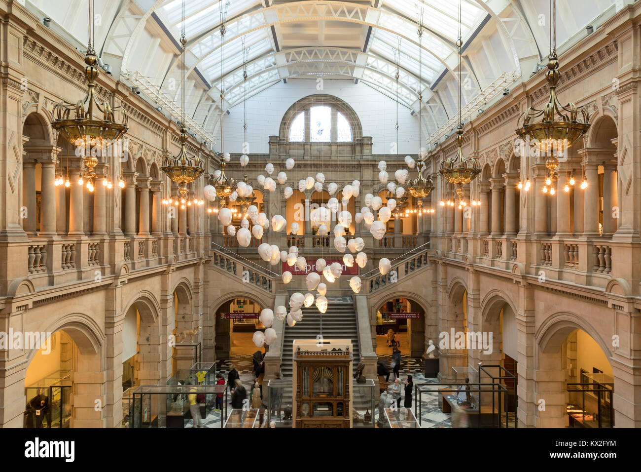 The Floating Heads installation by Sophie Cave at Kelvingrove Art Gallery and Museum, Glasgow, Scotland, UK - Stock Image