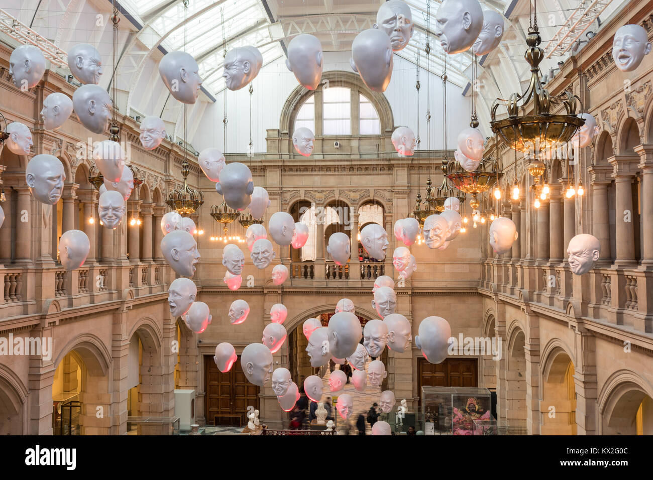 The Floating Heads installation by Sophie Cave at Kelvingrove Museum, Glasgow, Scotland, UK - Stock Image
