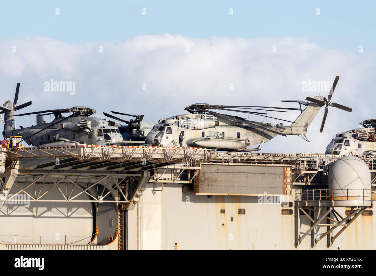 Sikorsky CH-53 heavy lift transport helicopters from the United States Marine Corps (Marine Expeditionary Unit - Stock Image