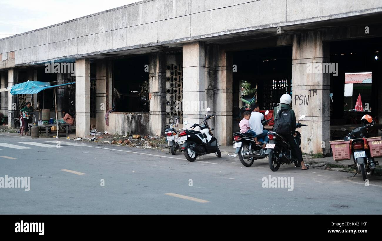 Exterior Takeo Cambodia Market Area Third World Shopping Out of the Way Places - Stock Image
