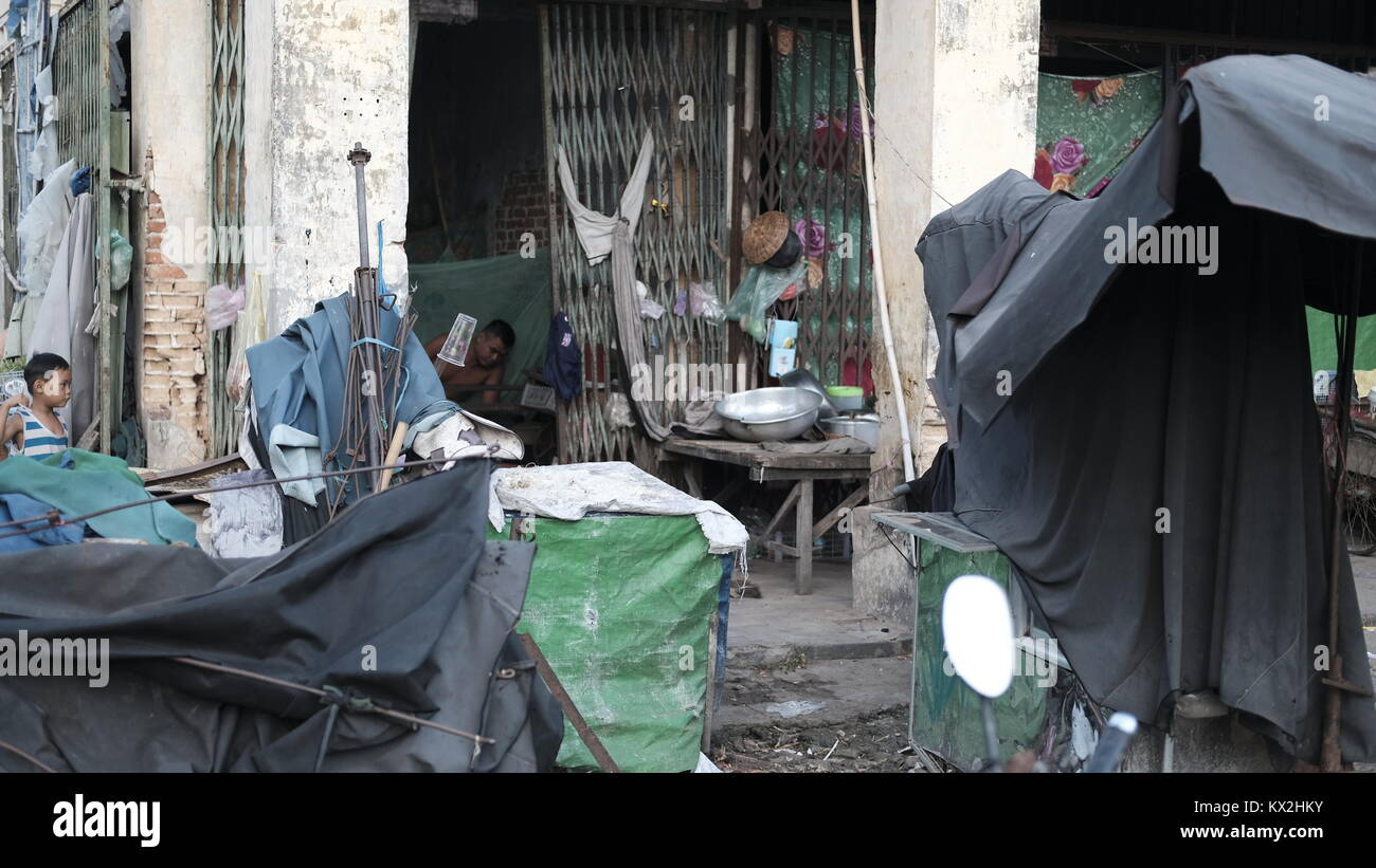 Shophouse Takeo Cambodia Market Area Third World Shopping Out of the Way Places - Stock Image