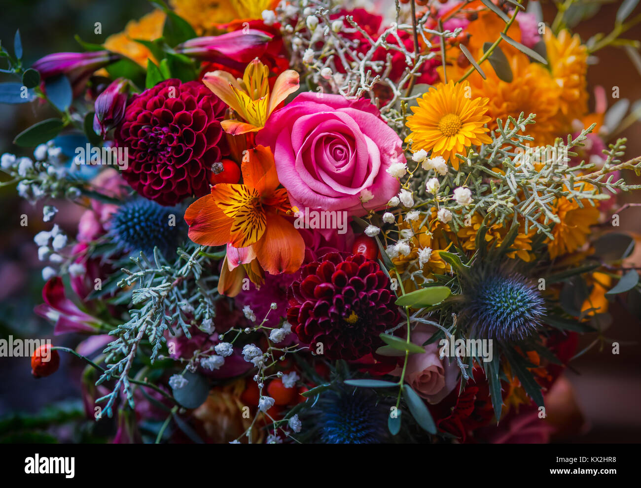 Beautiful, vivid, colorful mixed flower bouquet still life detail ...