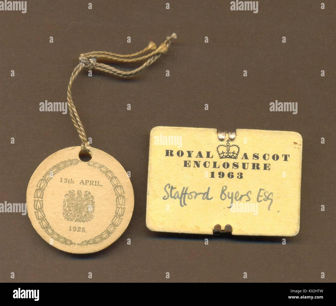 Badges for Royal Enclosure, Ascot - Stock Image