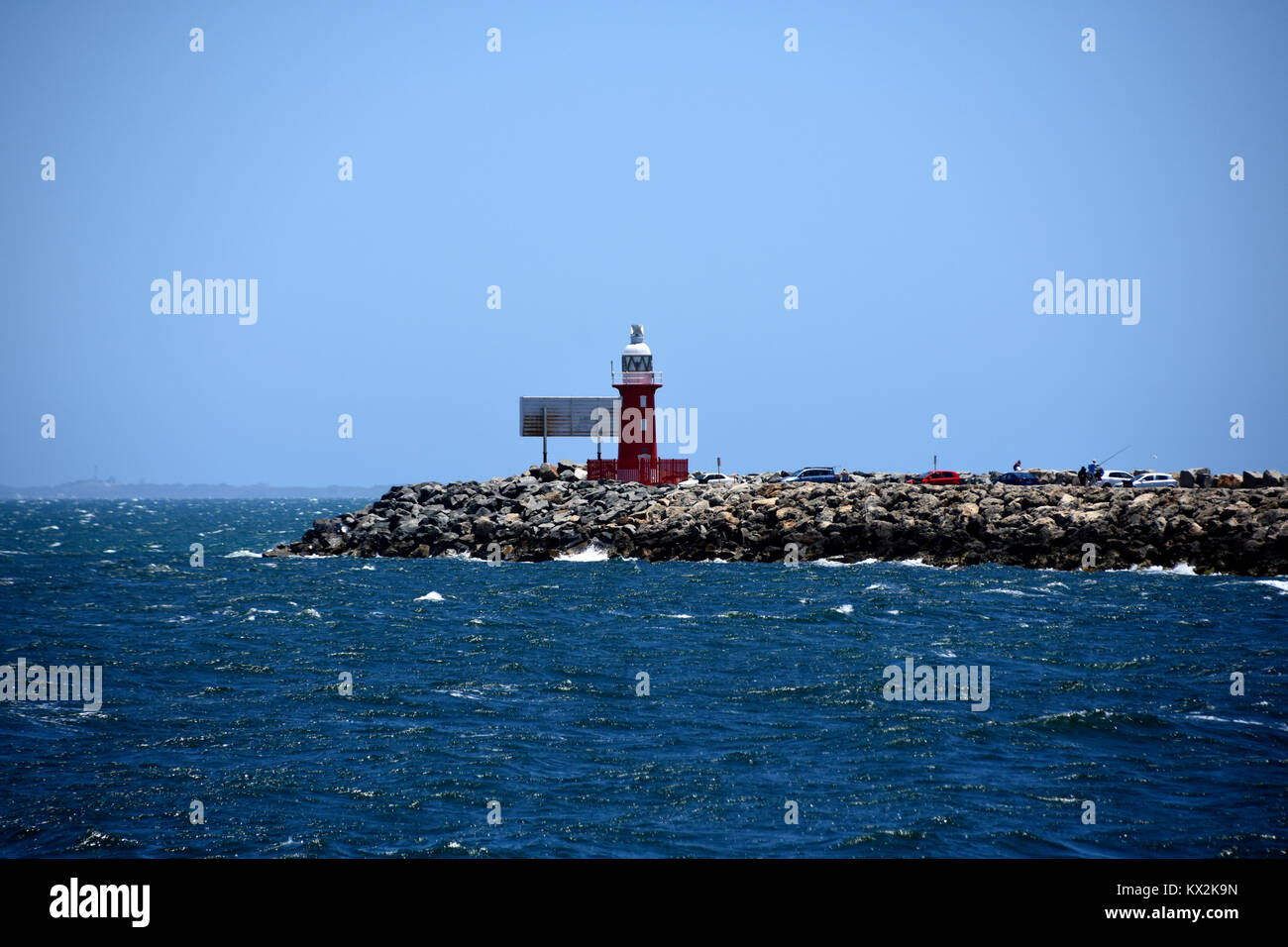 Port Red light house at the entrance to Freemantle Harbour - Stock Image