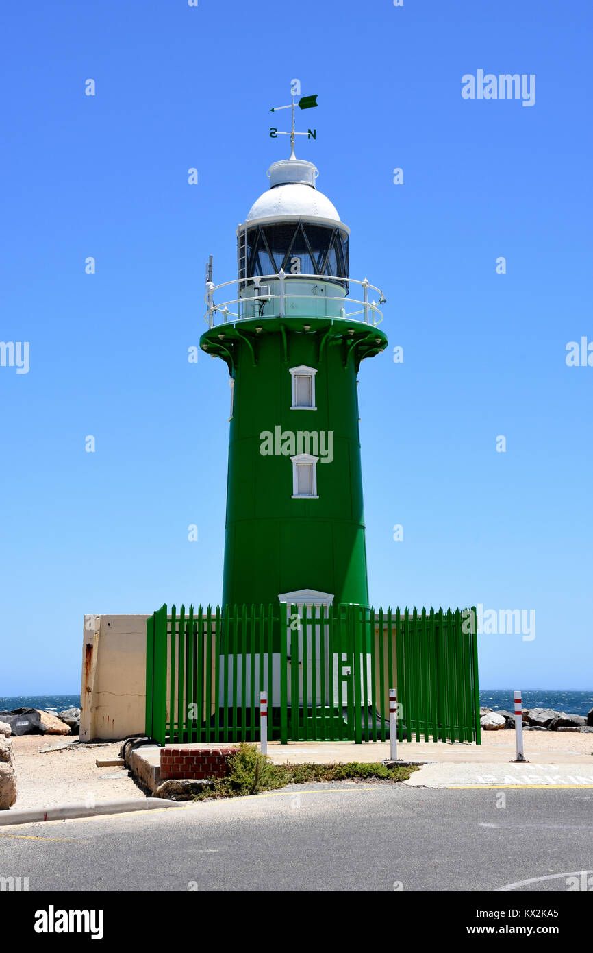 Starboard green light house at the entrance to Freemantle Harbour - Stock Image