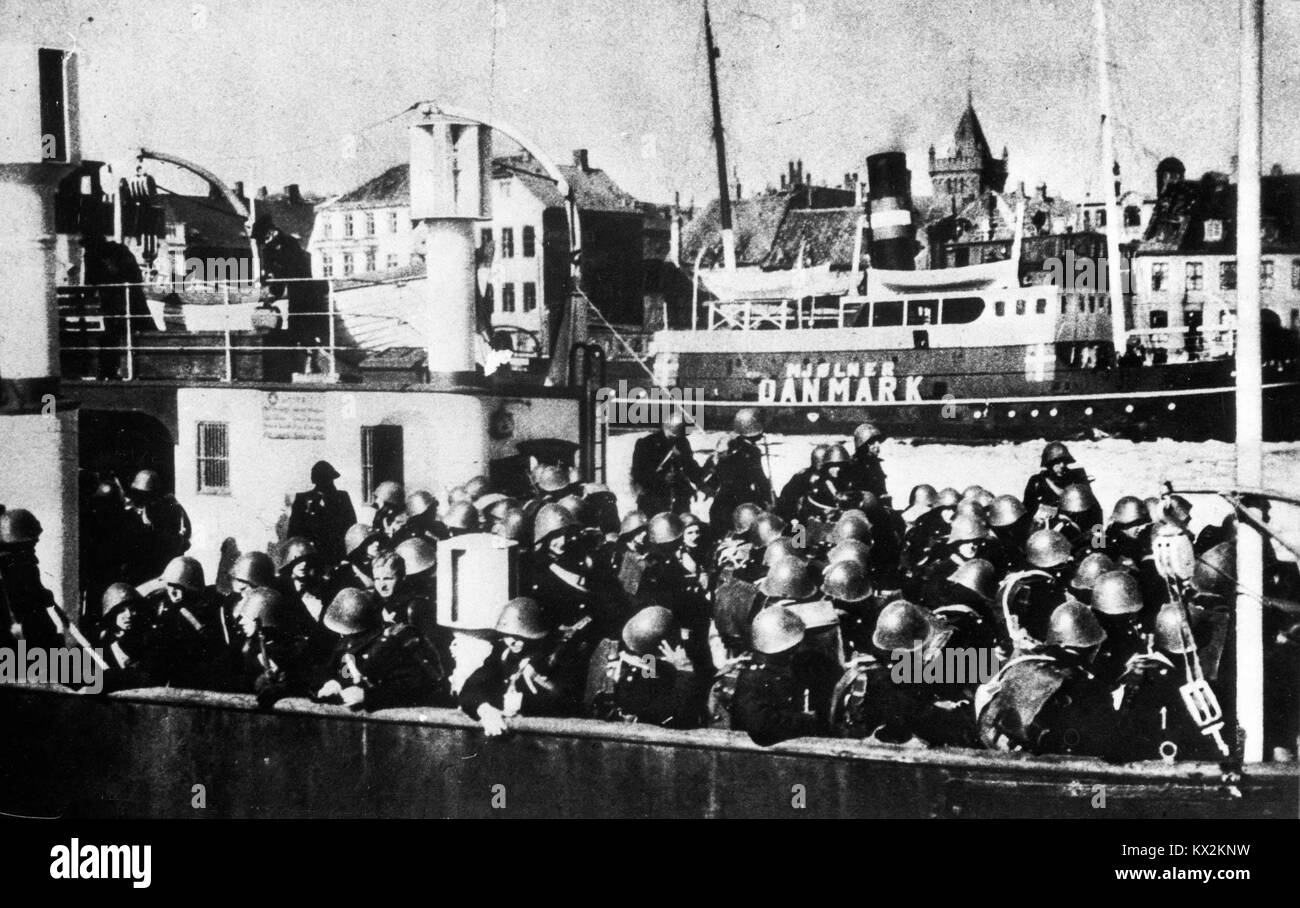 Colonel Bennike's unit on the seized ferry in Elsinore - Stock Image