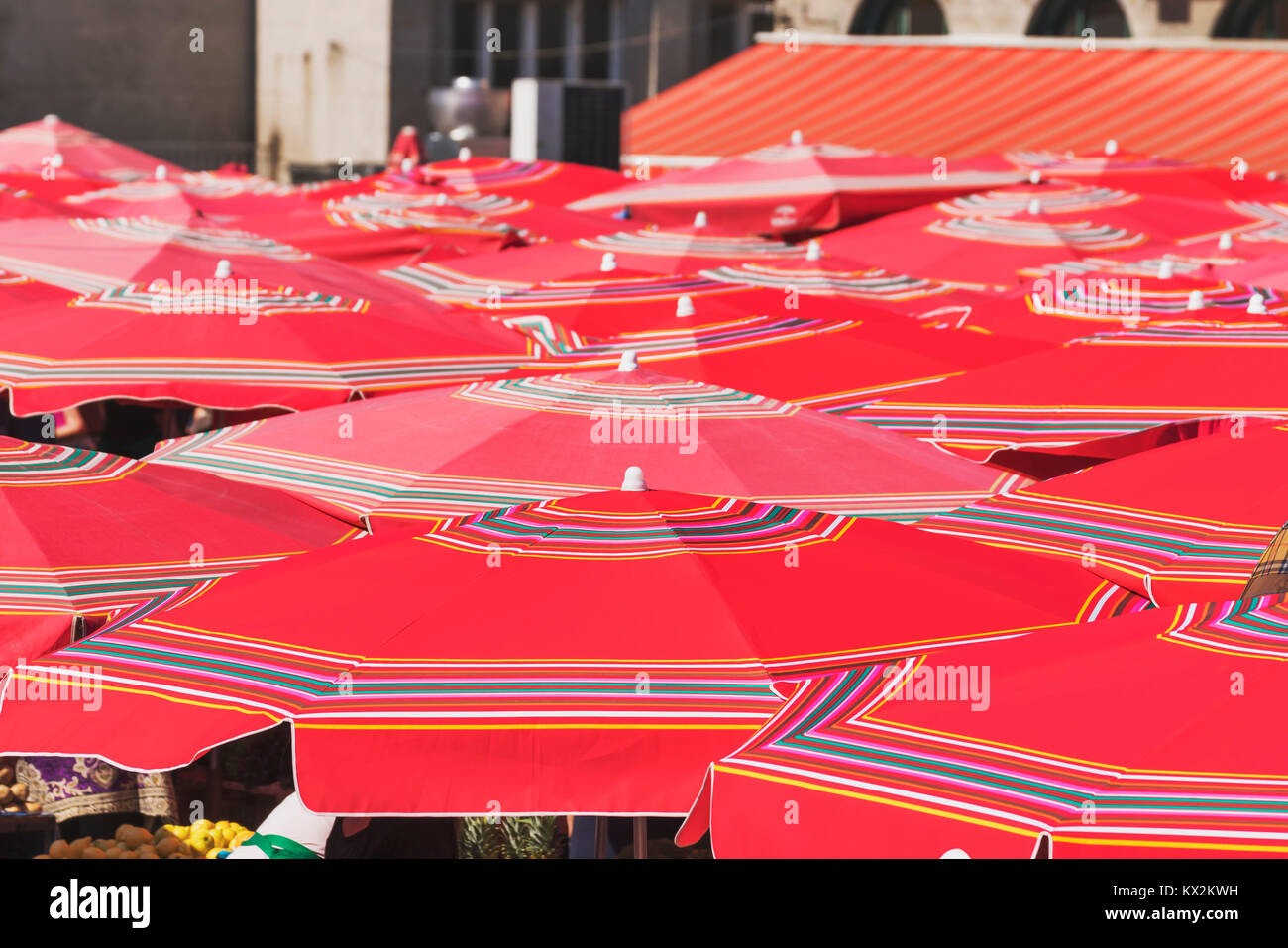 The typical red parasols are on the market from Zagreb (Dolac) in the vicinity of Ban Jelacic square, Zagreb, Croatia, - Stock Image