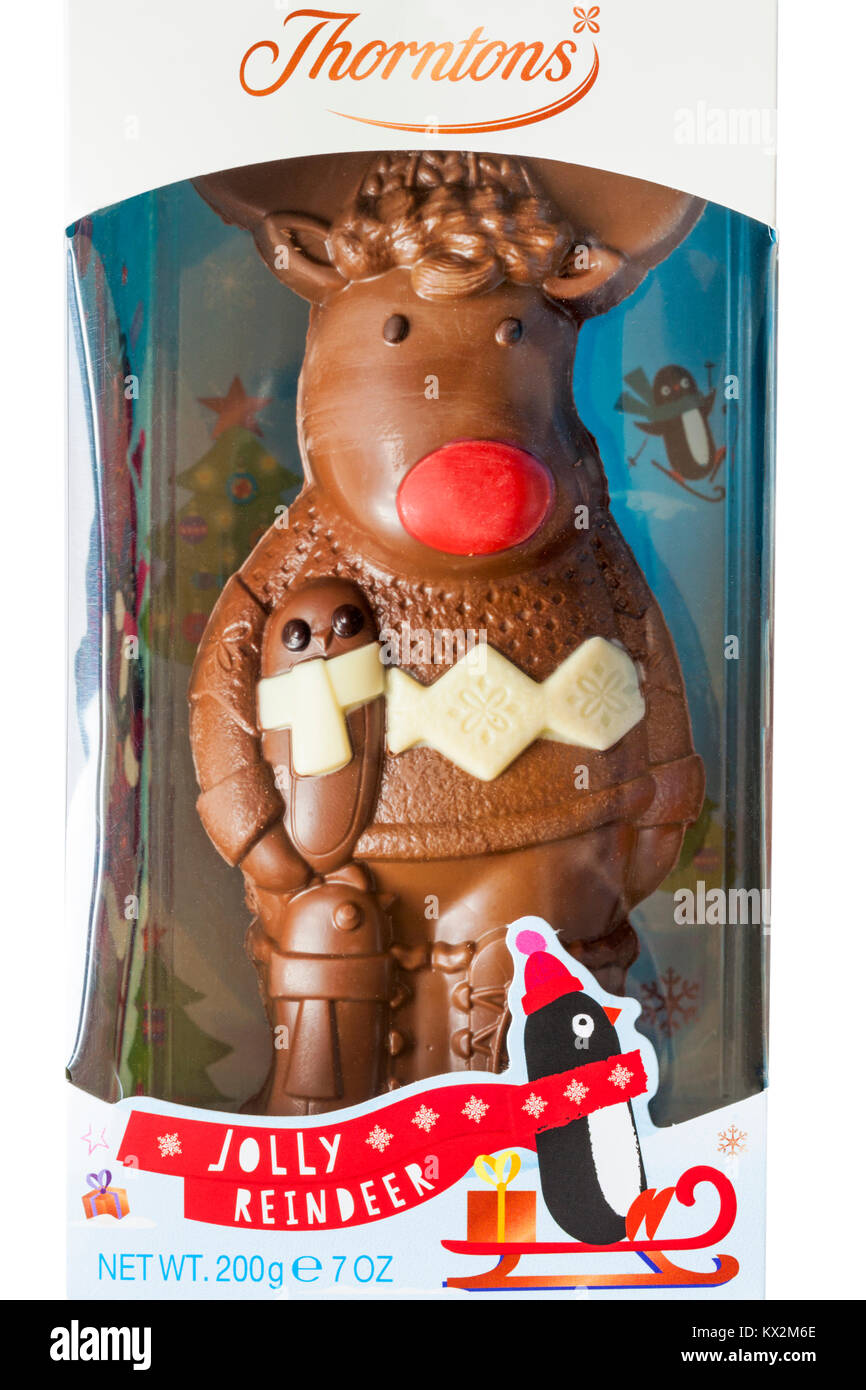 Thorntons Jolly Reindeer chocolate in packaging - ideal Christmas gift present - Stock Image