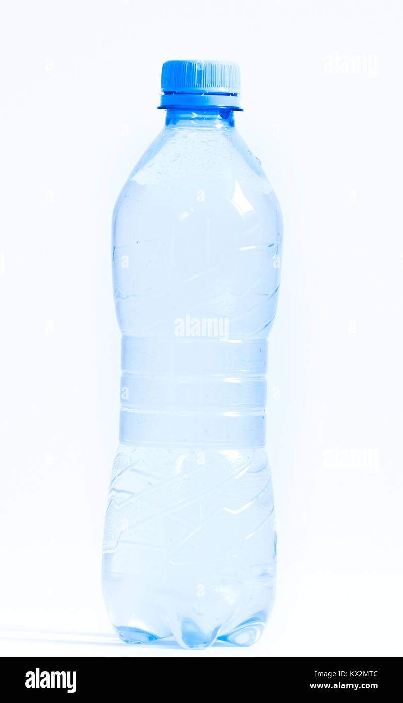 plastic water bottle islated on white - Stock Image
