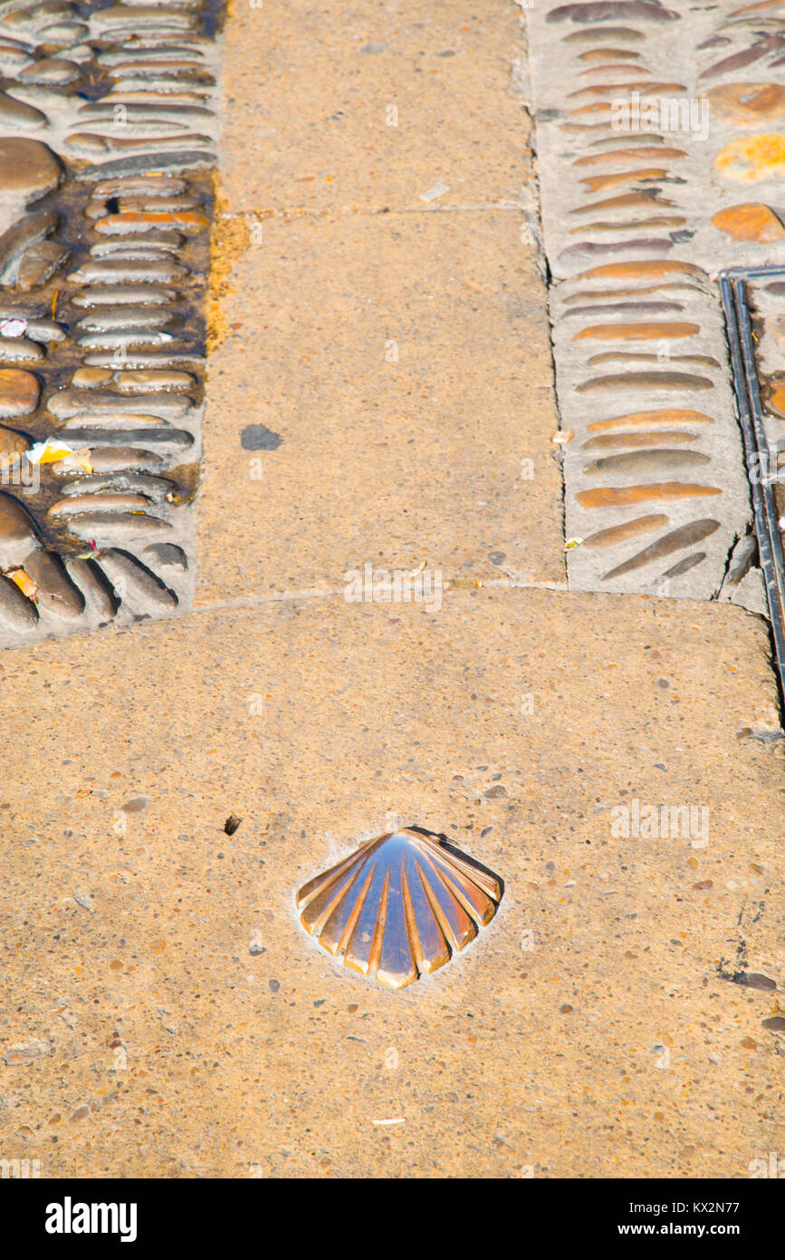 Pilgrim shell, symbol of Camino de Santiago. Leon, Spain. - Stock Image
