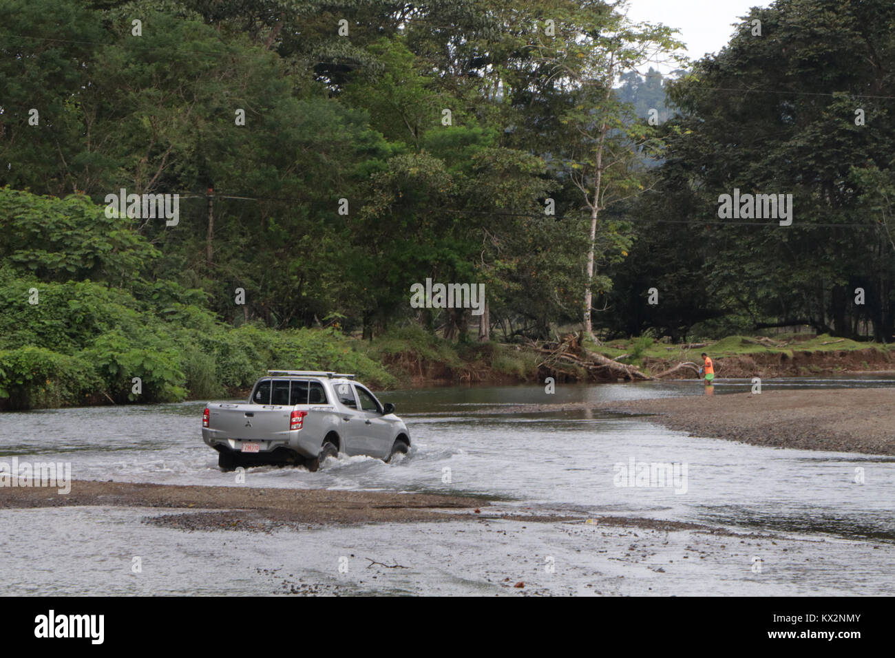 Car crossing river near Drake Bay Costa Rica Osa PeninsulaStock Photo