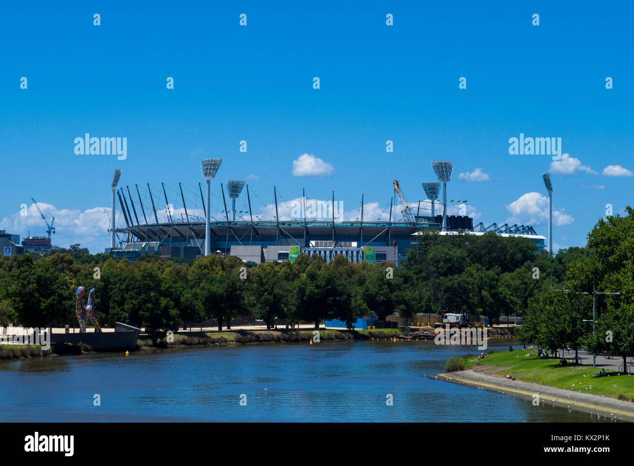 The Yarra river and the Melbourne Cricket Ground (MCG), Melbourne, Victoria, Australia. - Stock Image