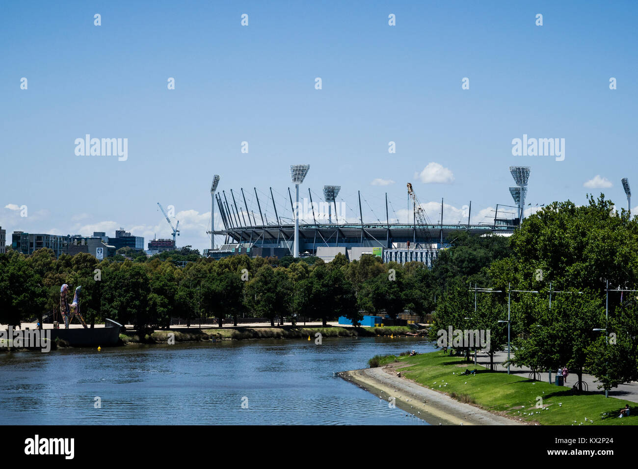 The Yarra river and the Melbourne Cricket Ground (MCG), Melbourne, Victoria, Australia. The Melbourne Cricket Ground - Stock Image