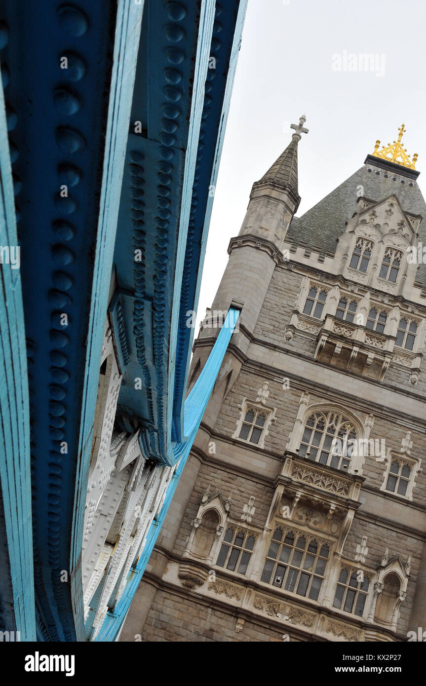 an unusual or different angle or viewpoint of the famous and iconic structure of tower bridge over the river thames - Stock Image