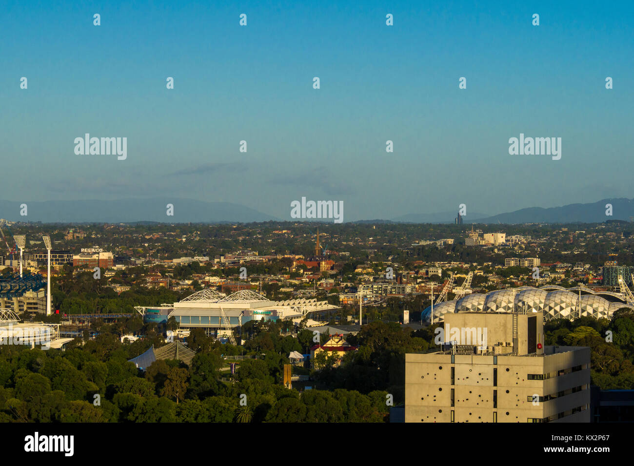 View across South-East Melbourne with sporting arenas in Melbourne Park, Melbourne, Victoria, Australia - Stock Image