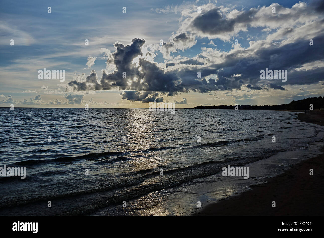 View of the Gulf of Finland near the village of Repino in the Leningrad Region. Saint-Petersburg, Russia, water - Stock Image