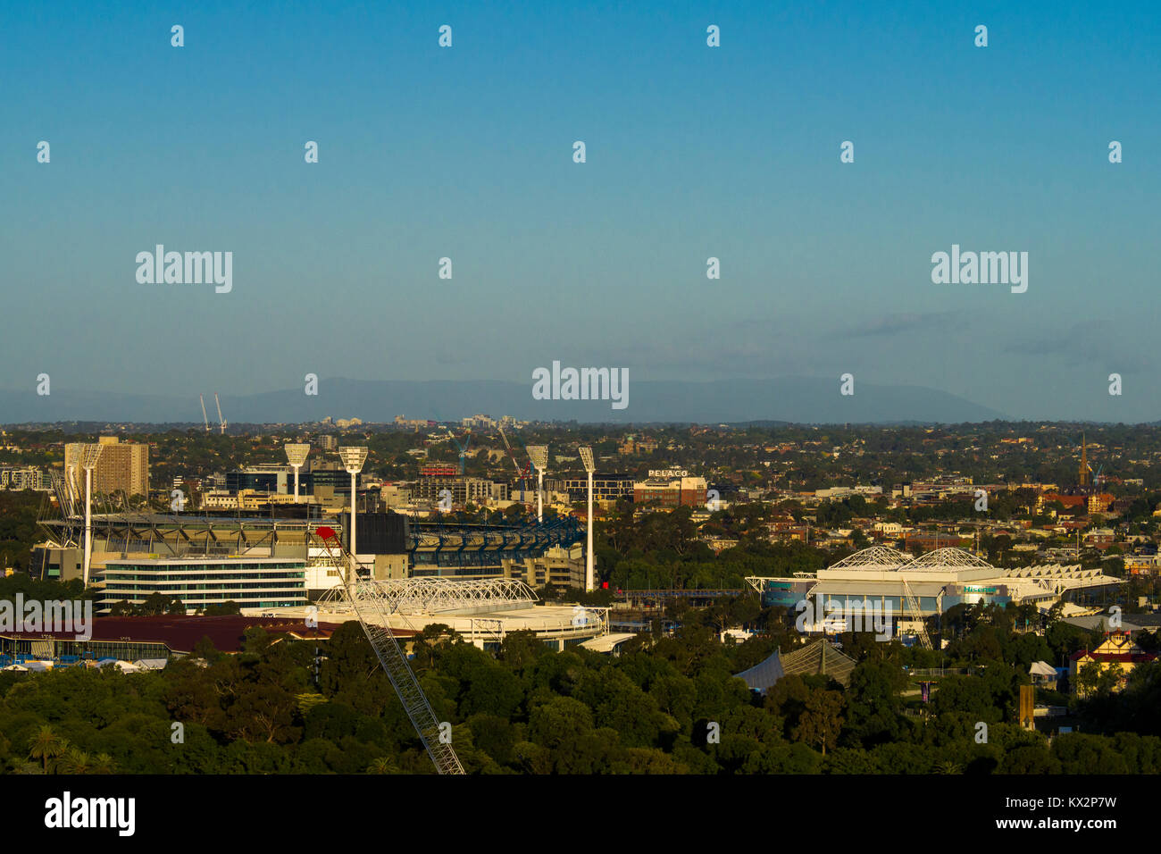 View of the Melbourne Cricket Ground and the major tennis courts for the Australian Open in Melbourne Park , Victoria, - Stock Image