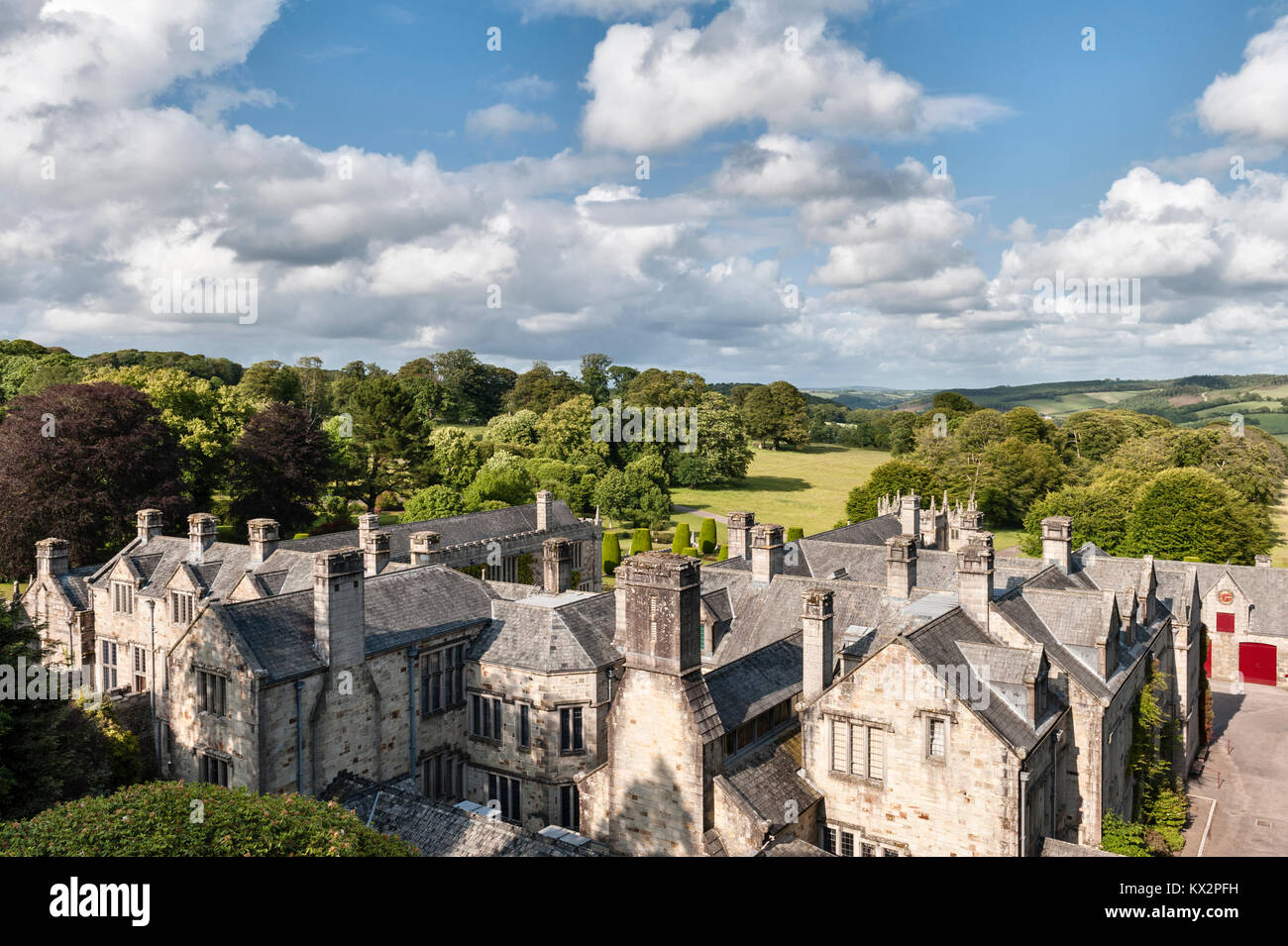 Lanhydrock, Bodmin, Cornwall, UK. A view over the roofs of the 17c house (much of it rebuilt in the 19c after a - Stock Image