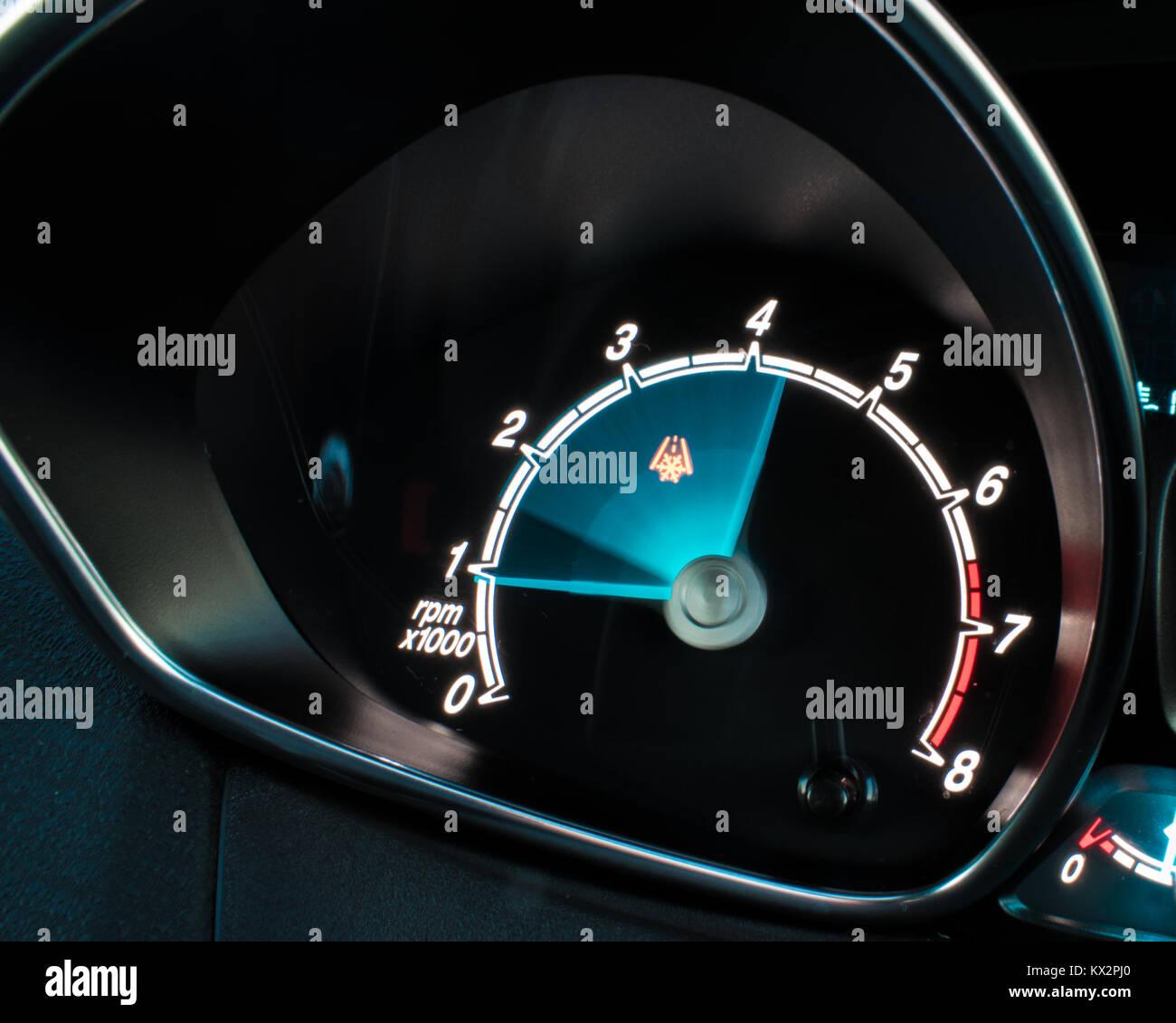 Tachometer / Rev-Counter / RPM Gauge Long Exposure (Ford Fiesta) - Stock Image