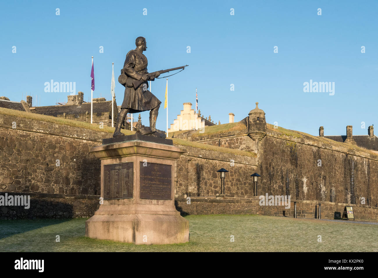 Argyle & Sutherland Highlanders South African (Boer) War memorial outside Stirling Castle, Scotland, UK - Stock Image