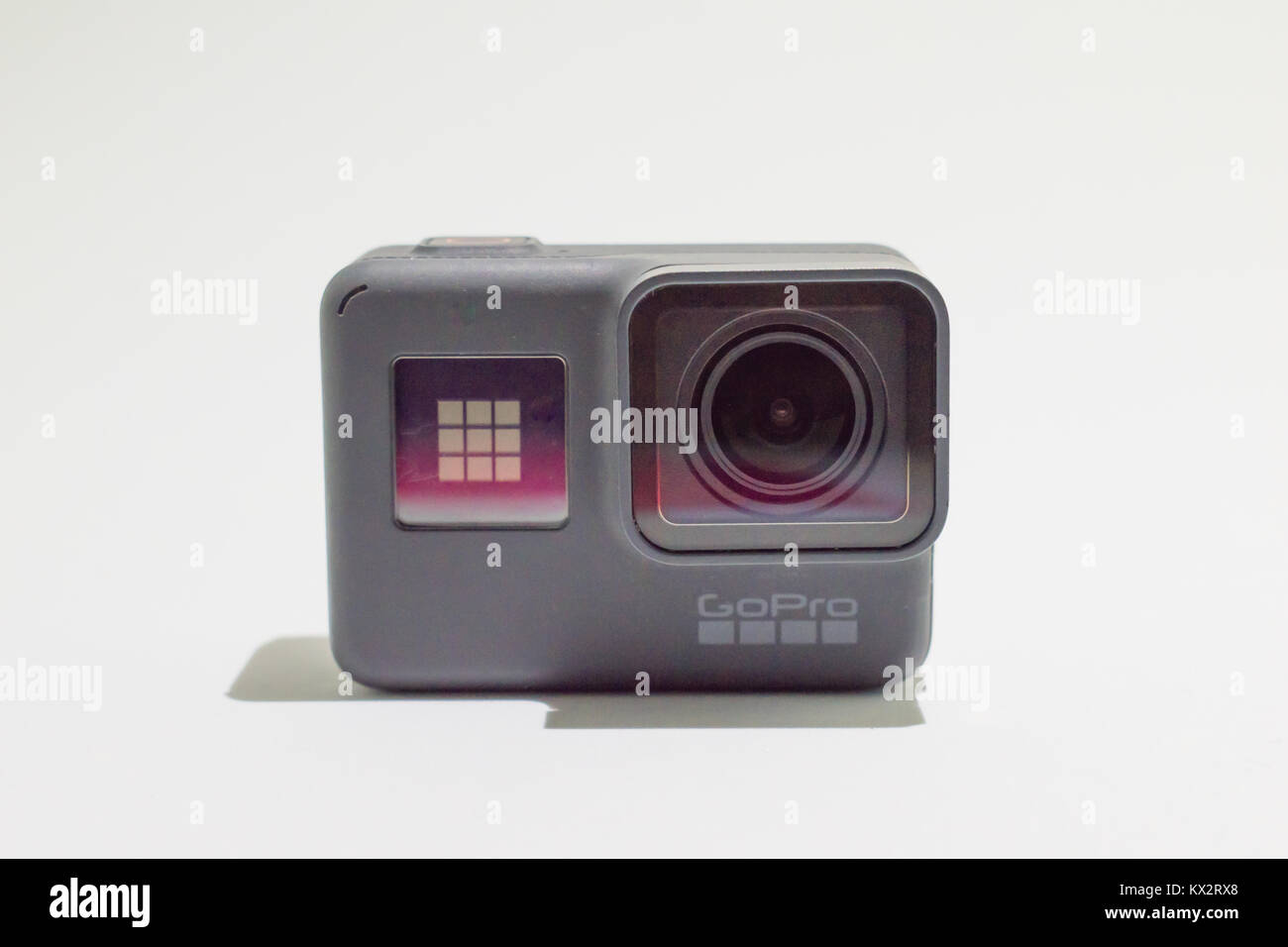 Toledo, Spain - January 6, 2.018: GoPro Hero 6 Black Edition isolated on white background. Action camera - Stock Image