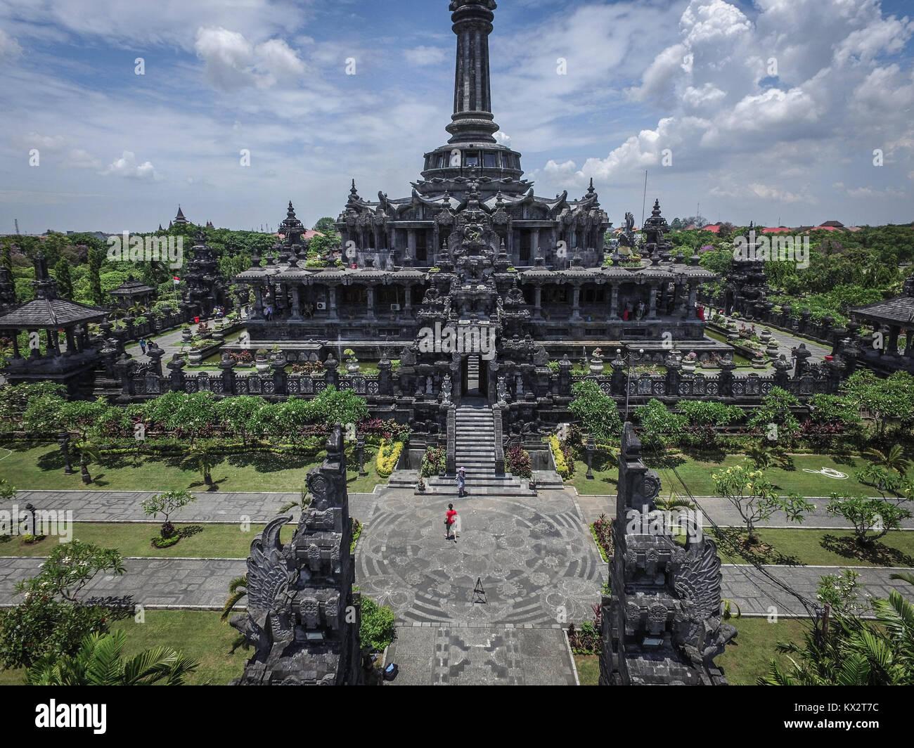Aerial drone view of Bajra Sandhi Monument located at Raya Puputan Niti Mandala Street, Renon, Denpasar, Bali. - Stock Image
