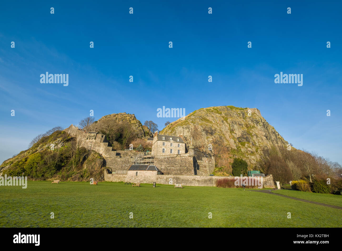 Dumbarton Castle and Dumbarton rock, West Dumbartonshire, Scotland - Stock Image