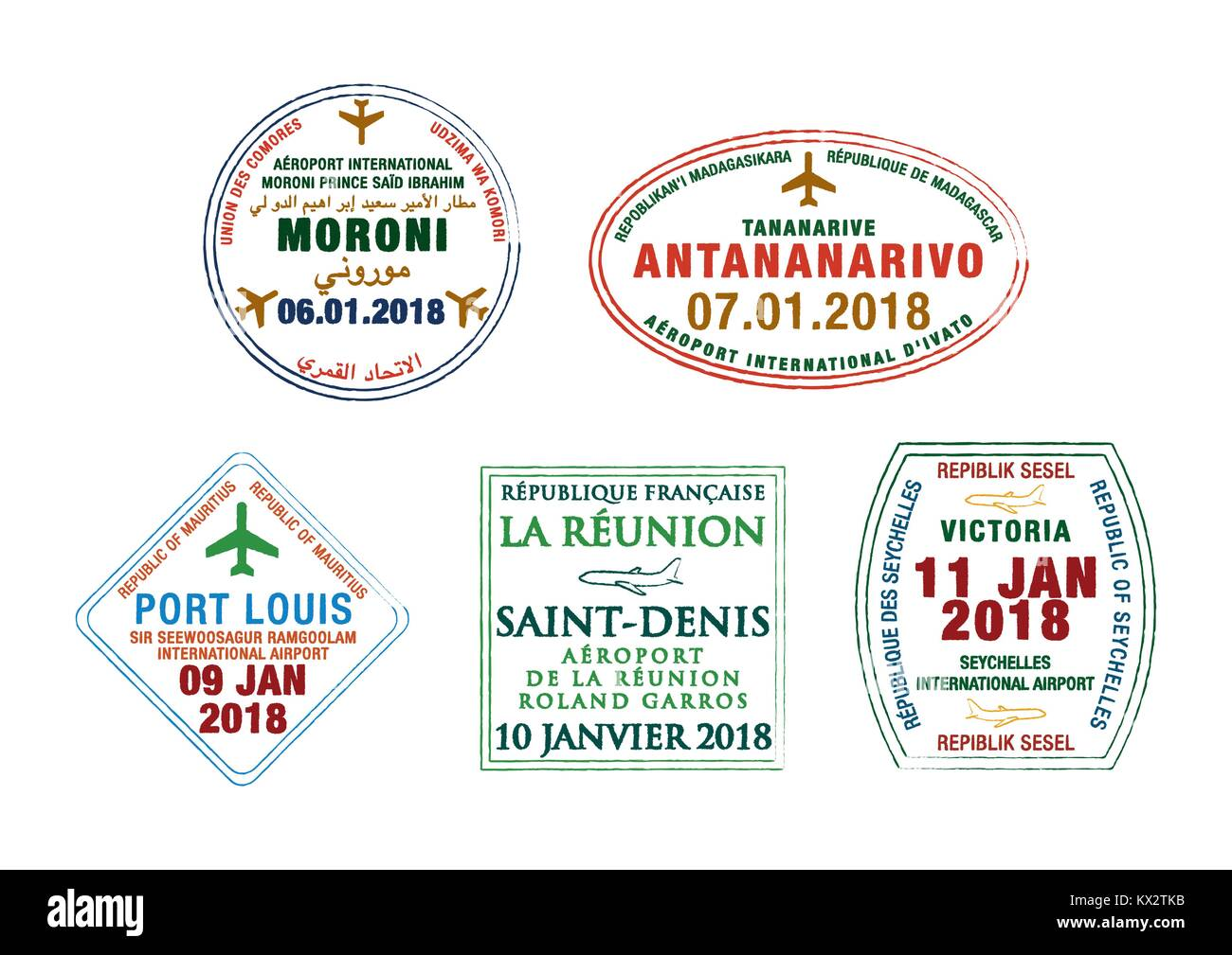 Set of stylised passport stamps for airports of Madagascar, Seychelles, Comoros, Réunion and Mauritius in vector Stock Vector