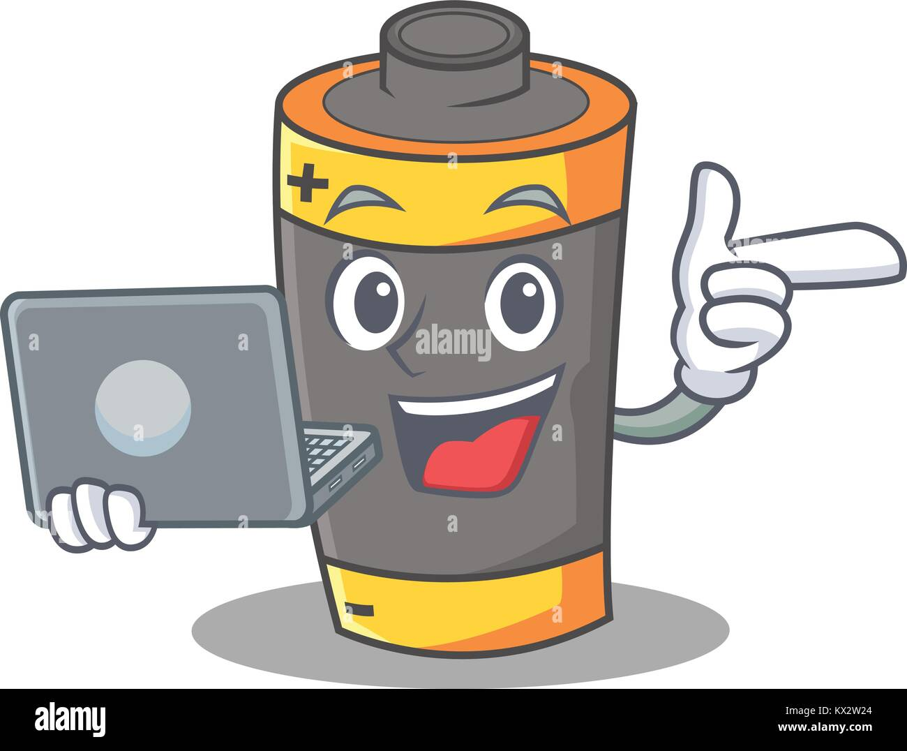 With laptop battery character cartoon style - Stock Image