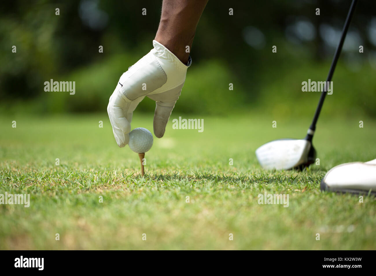African American man playing golf. - Stock Image