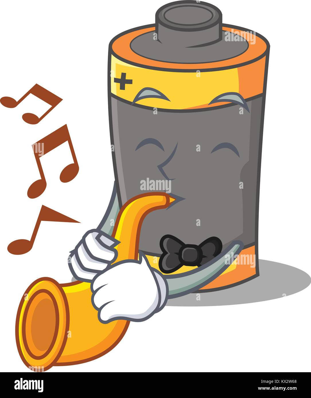 With trumpet battery mascot cartoon style - Stock Image