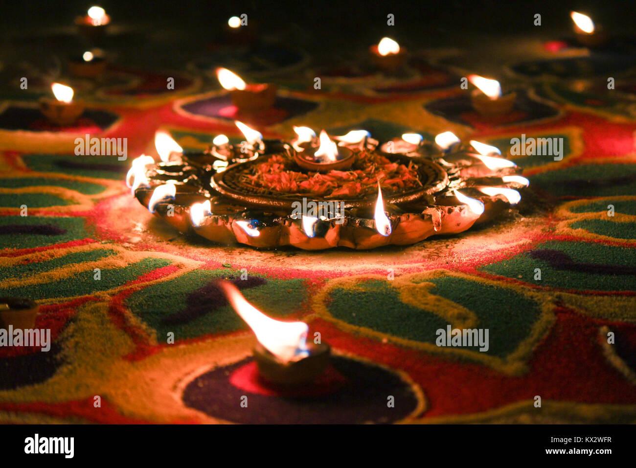 diwali light festival burning oil lamps Stock Photo
