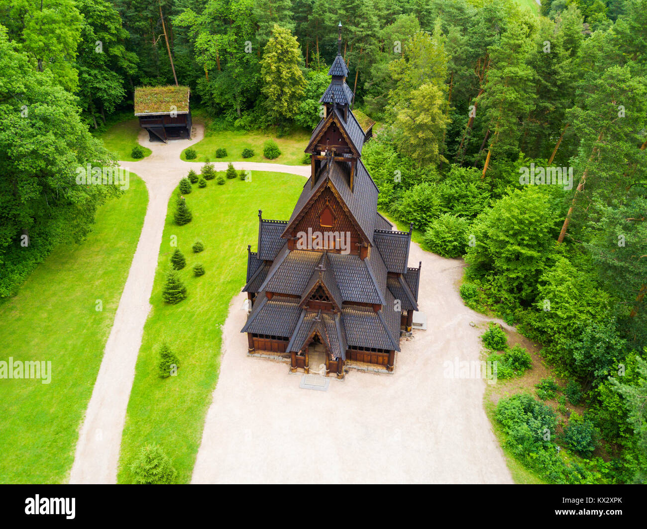 Gol Stave Church or Gol Stavkyrkje is a stave church in Oslo, Norway. Gol Stave Church located in the Norwegian - Stock Image