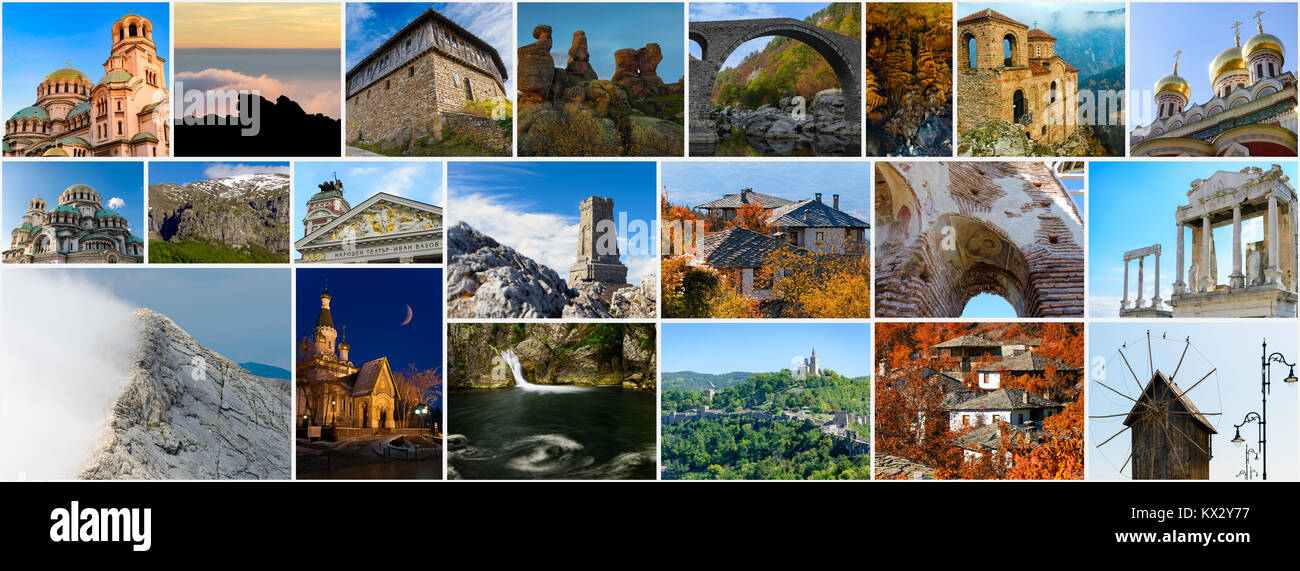 Collage Of Bulgarian Landmarks Iconic Places And Popular Travel Destinations Aspect Ratio Ready For Page Cover