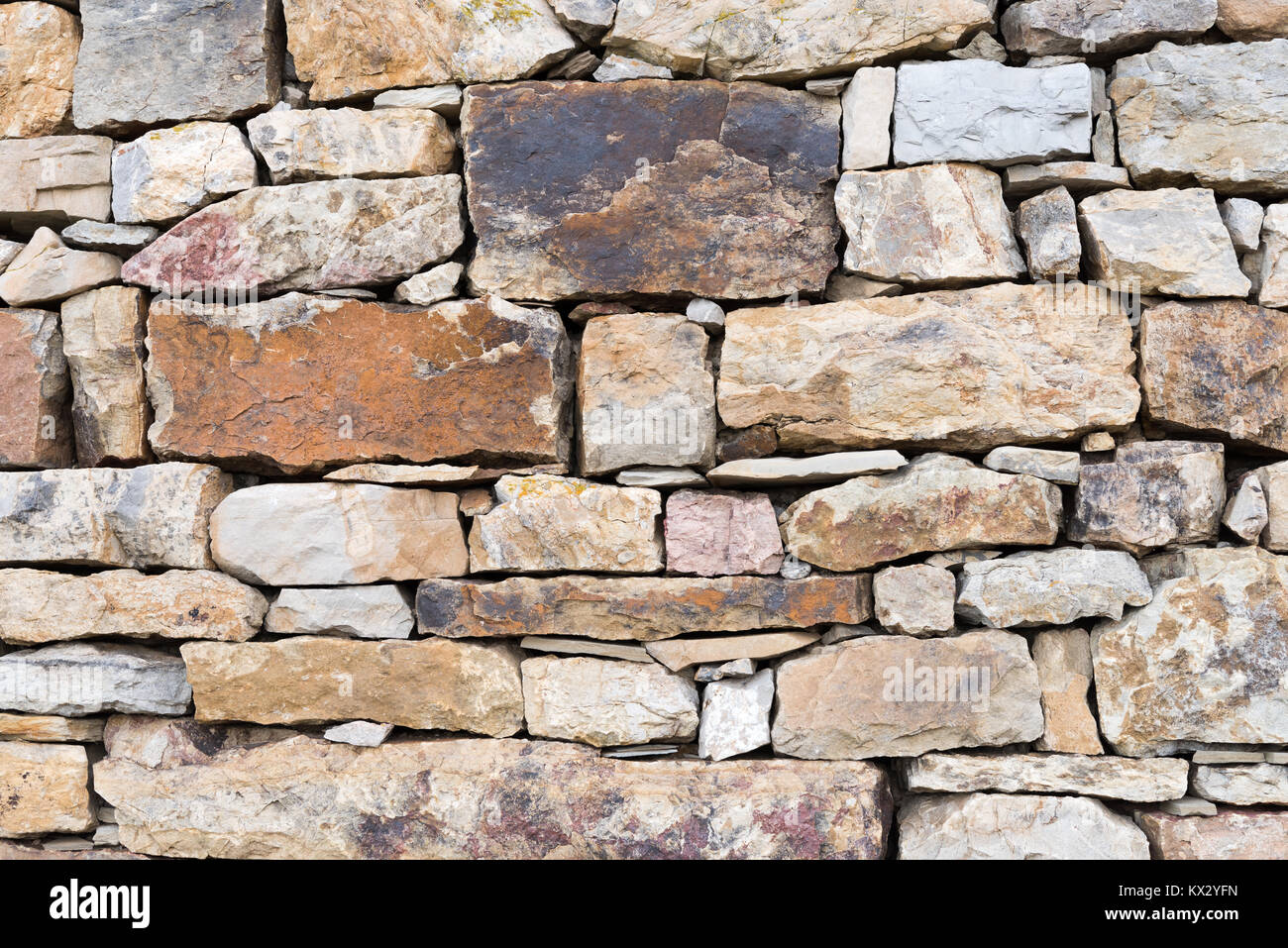 Section of dry stone wall made of various sized stones - Stock Image