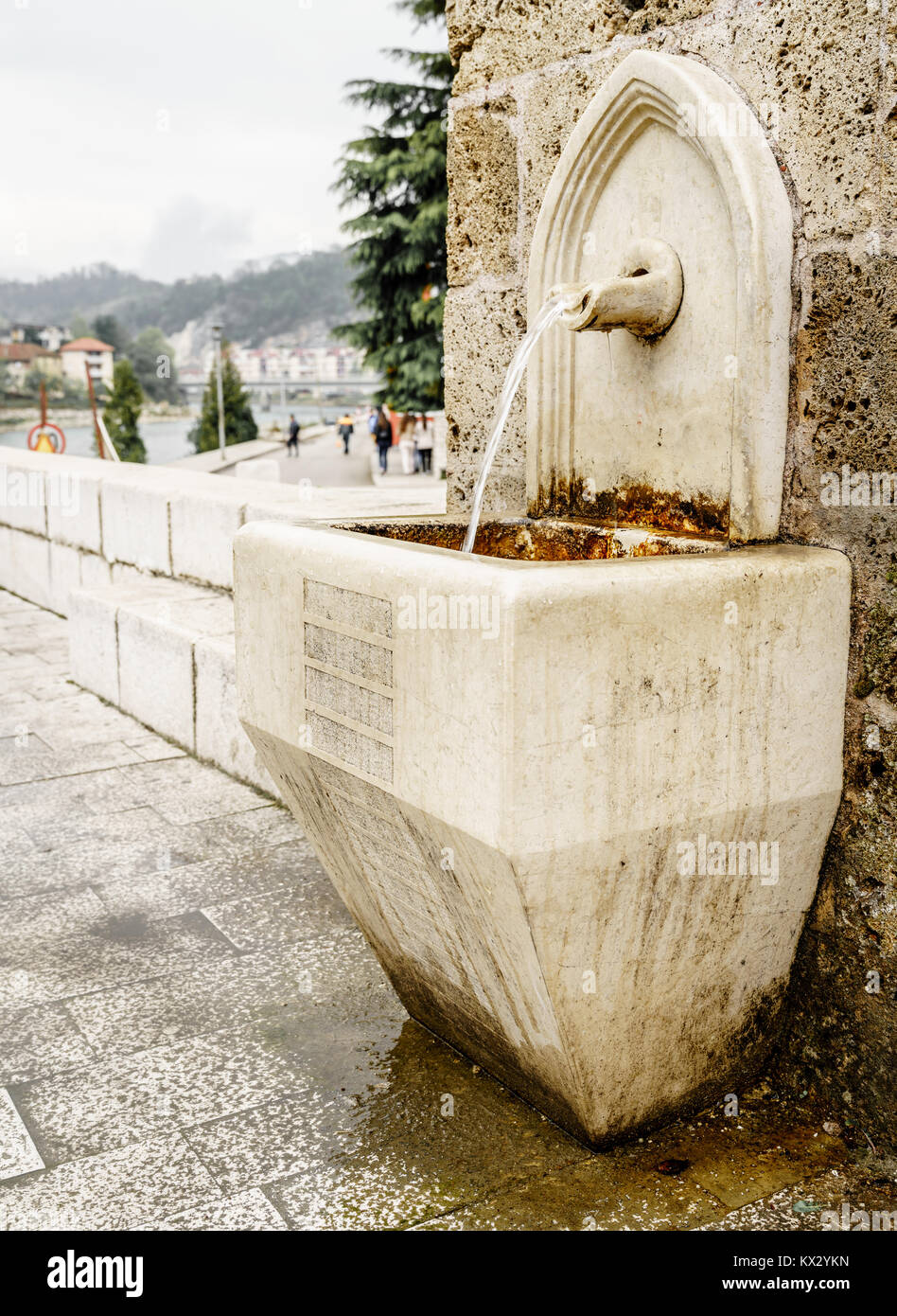 Ancient spring water fountain in the town of Konjic, Bosnia - Stock Image