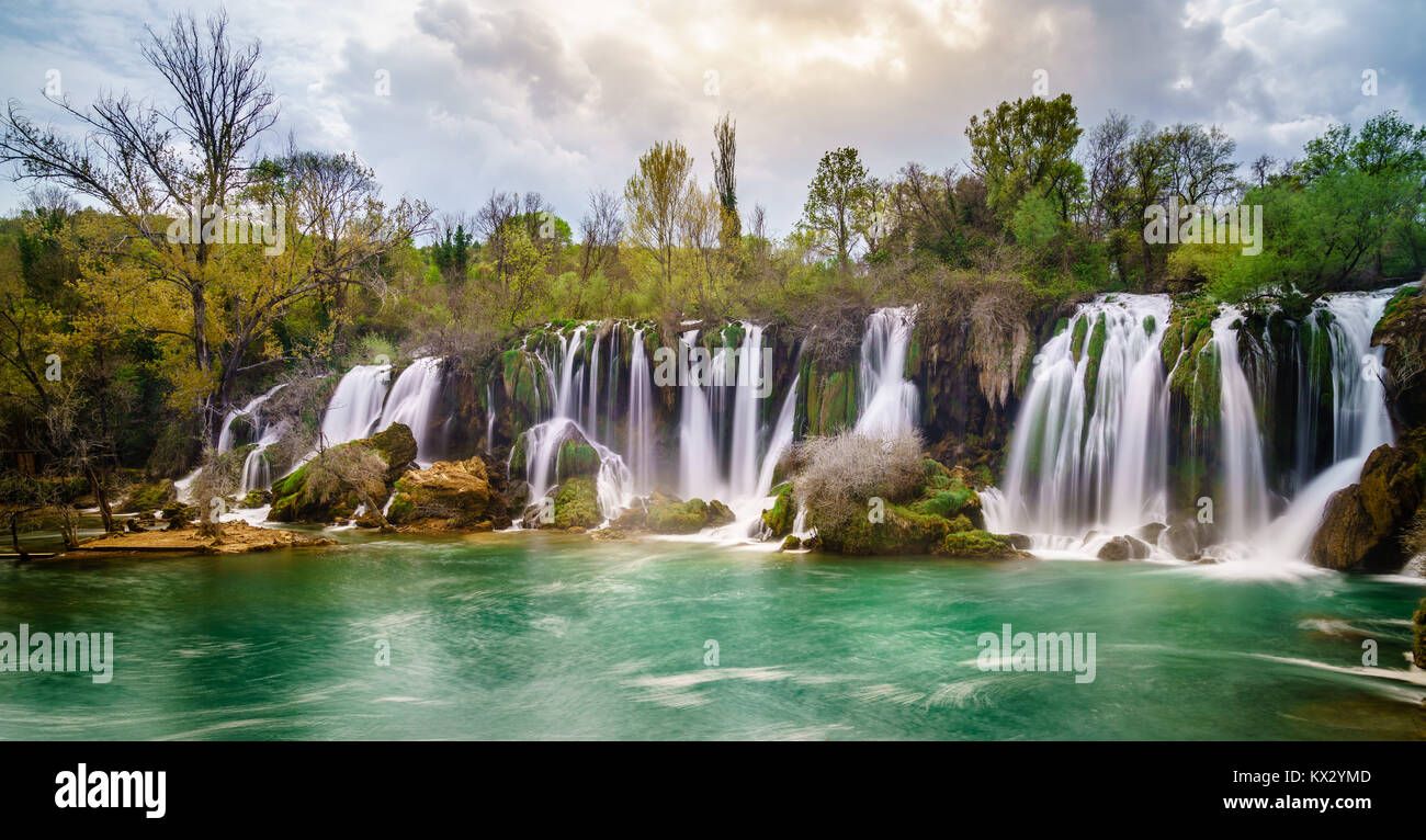 Long exposure image or Kravica Waterfalls in Bosnia-Herzegovina - Stock Image